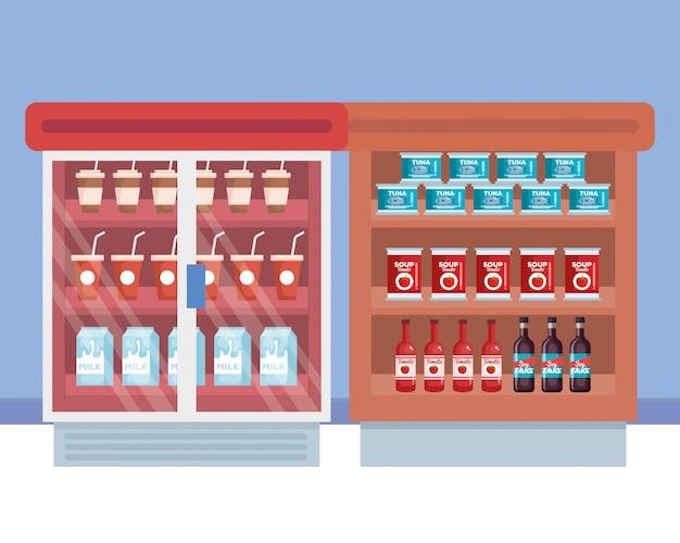 Geladeira de supermercado com prateleira e produtos Vetor grátis