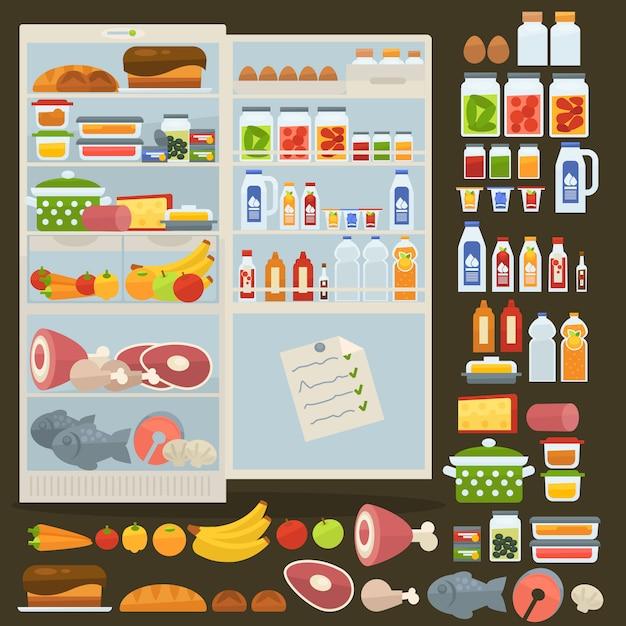Geladeira e conjunto de comida. Vetor Premium