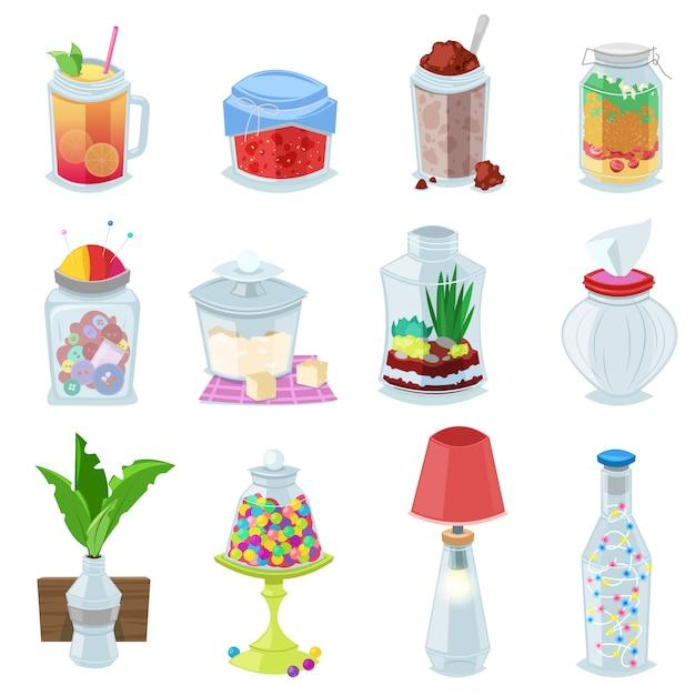 Geléia de vetor jar de vidro ou geléia doce em vidro pedreiro com tampa ou tampa para conservas e preservando conjunto copo de ilustração de recipiente ou copo com suco isolado no fundo branco Vetor Premium