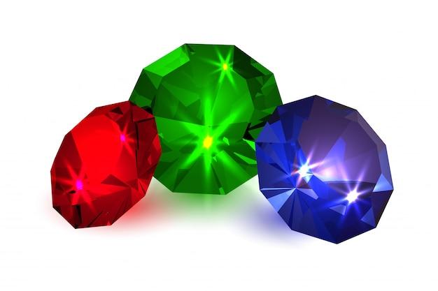 Gemas. jóias com diamantes coloridos Vetor Premium