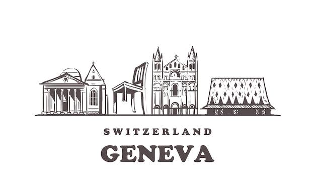 Genebra esboça a paisagem urbana isolada no branco Vetor Premium