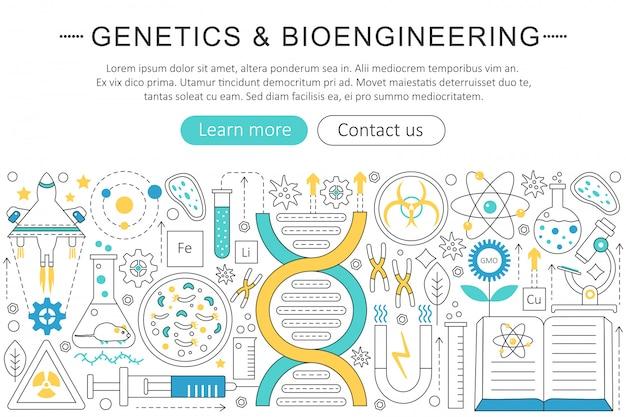 Genética e conceito de bioengenharia Vetor Premium