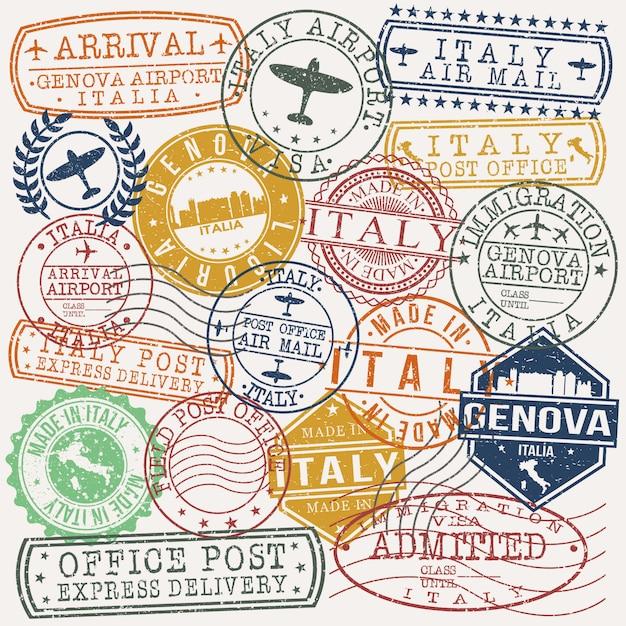 Genova italy conjunto de viagens e negócios stamp desenhos Vetor Premium