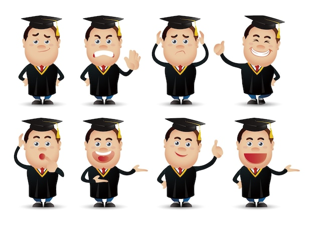Gente-profissional-estudante fofa Vetor Premium