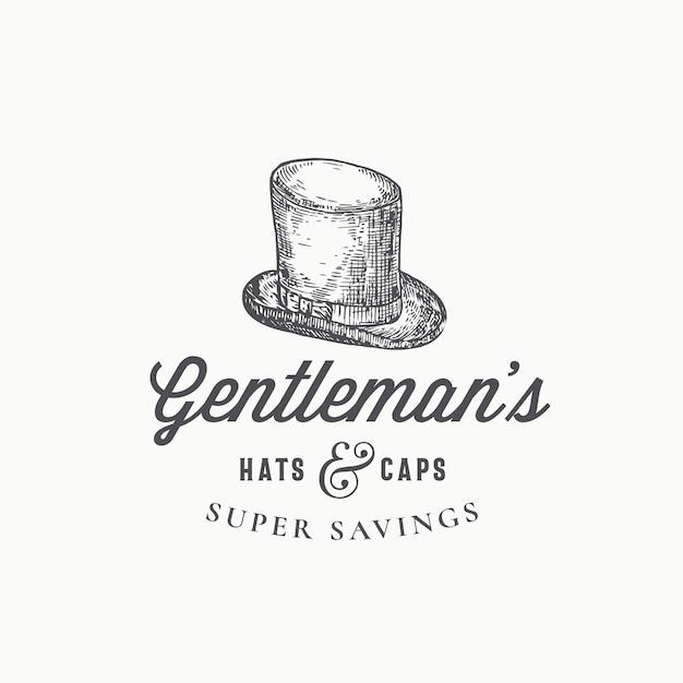 Gentlemans cartola abstrata sinal, símbolo ou modelo de logotipo. Vetor grátis