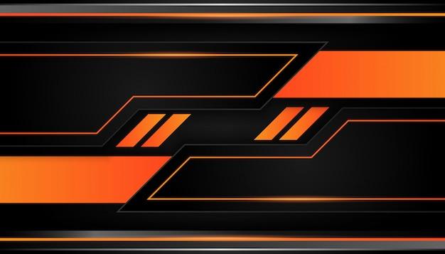 Geometria 3d moderna formas linhas pretas com bordas laranja em fundo escuro Vetor Premium
