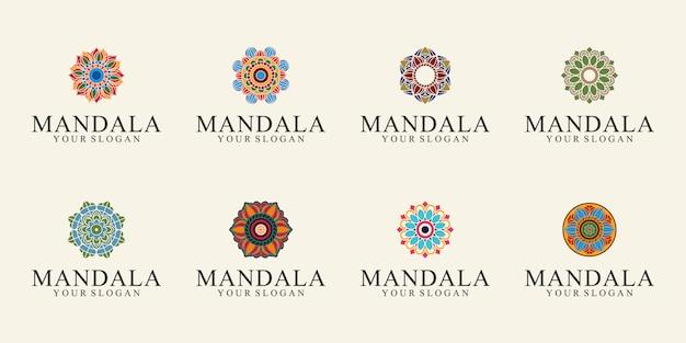 Geometria do pacote de logotipo e mandalas coloridas para decorações e ornamentos extravagantes Vetor Premium