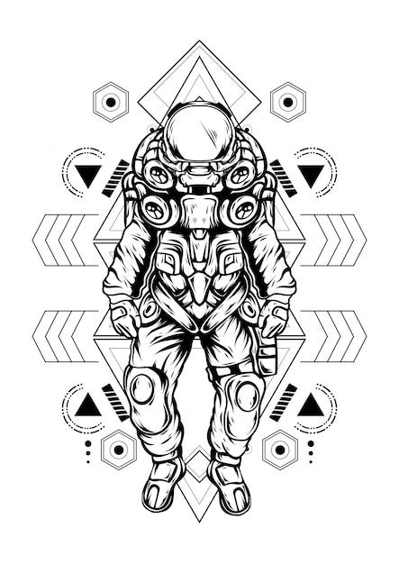 Geometria sagrada de astronauta Vetor Premium