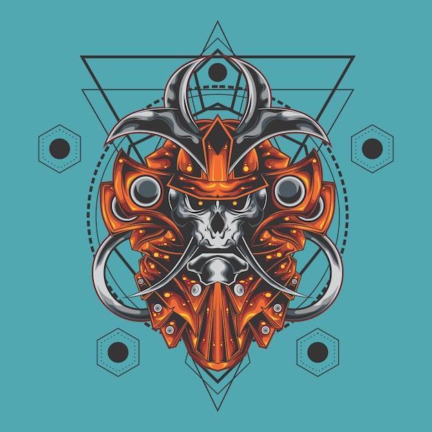 Geometria sagrada de crânio de samurai Vetor Premium