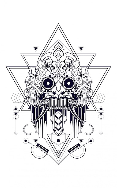Geometria sagrada de máscara de cultura Vetor Premium