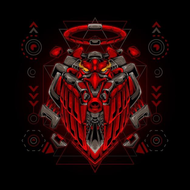 Geometria sagrada do robô águia Vetor Premium
