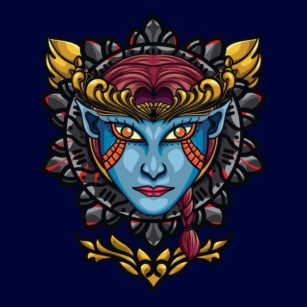 Geometria sagrada do rosto do anjo do diabo. uma ilustração com base de um anjo do diabo Vetor Premium