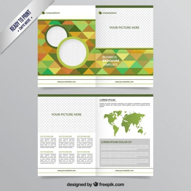 Geometric brochura em tons verdes Vetor Premium