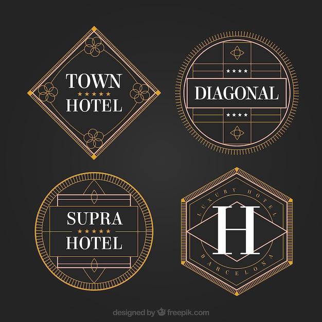 Geométricos logos de hotéis em um estilo do vintage Vetor grátis