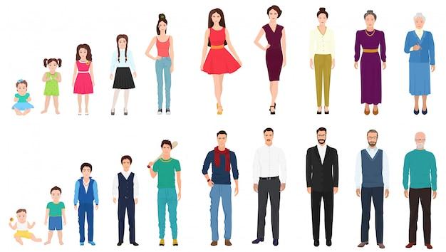 Gerações de idade masculina e feminina Vetor Premium