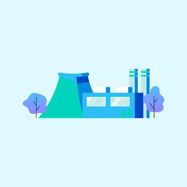 Gerador de energia de fábrica em azul Vetor grátis