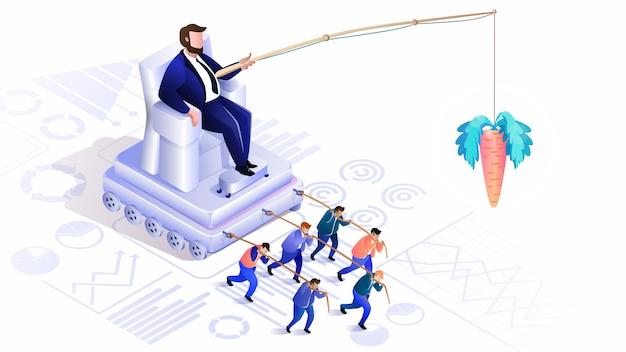 Gerenciamento de multidões ocultas. globalização, líder Vetor Premium