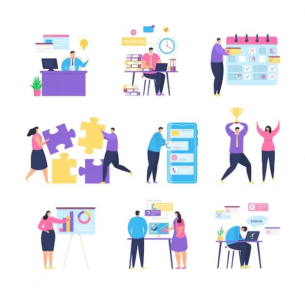 Gerenciamento de tarefas de negócios com ilustração de equipe de pessoas. Vetor Premium