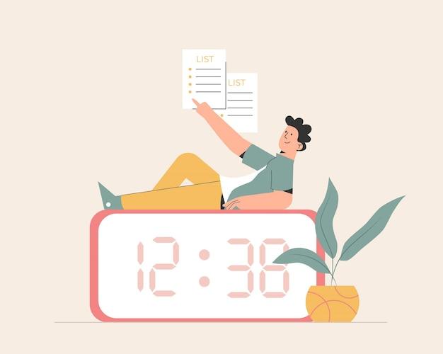 Gerenciamento de tempo com relógio Vetor Premium
