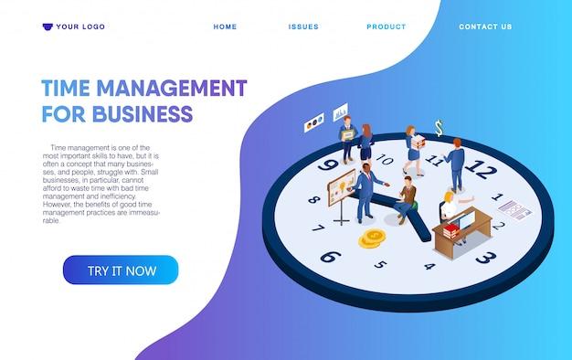 Gerenciamento de tempo de cartaz horizontal para negócios. Vetor Premium