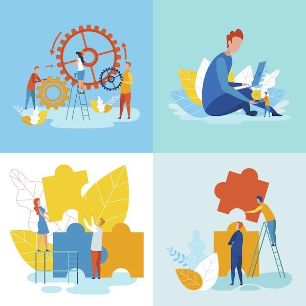 Gerenciamento de tempo e trabalho em equipe dentro do prazo. Vetor Premium