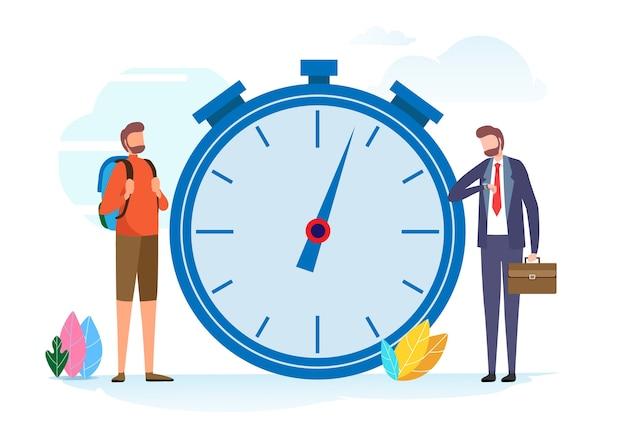 Gerenciamento de tempo. férias ou trabalho Vetor Premium