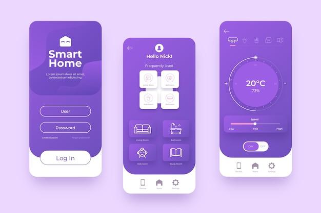 Gerenciamento doméstico inteligente em tons violeta Vetor Premium