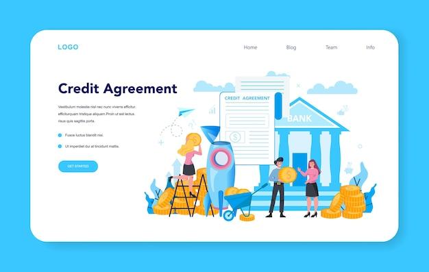 Gerente de empréstimo, banner da web ou página de destino do contrato de crédito. Vetor Premium