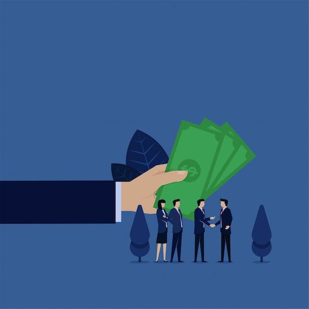 Gerente de negócios dar dinheiro para sua recompensa de amigo de referência. Vetor Premium