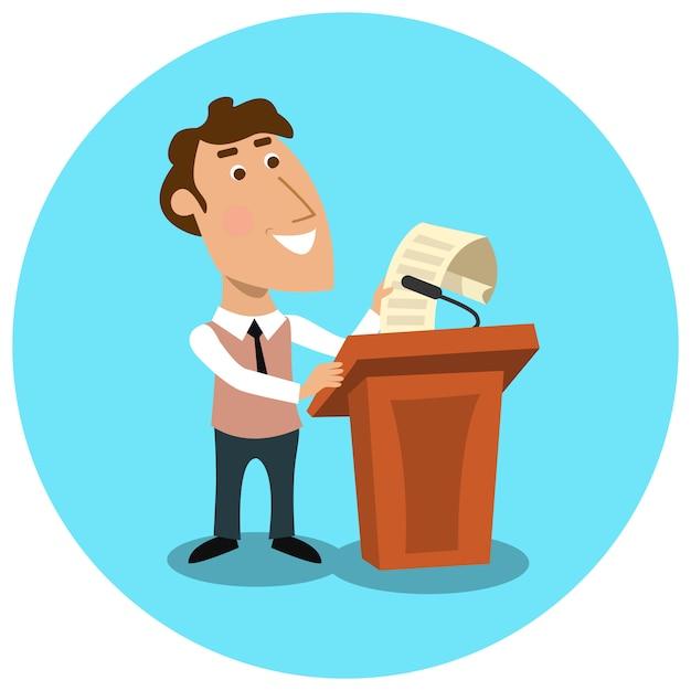 Gerente de negócios fazendo apresentação pública Vetor grátis
