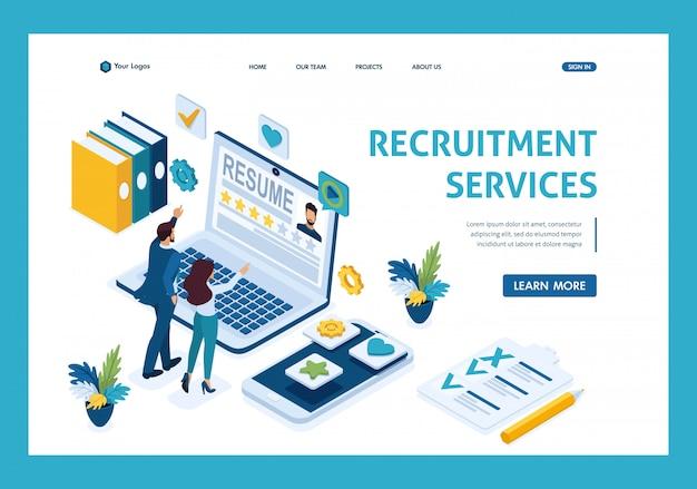 Gerente de rh isométrico, serviço para encontrar funcionários, gerentes consideram candidatos, candidatos Vetor Premium