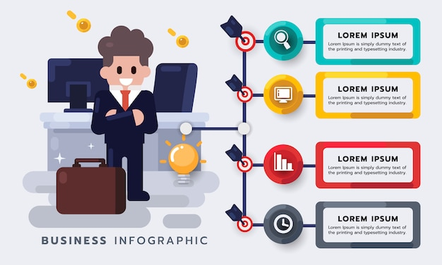 Gestão de negócios, empresário com trabalho. estratégia ou novo elemento de infográfico de plano de projeto. ilustração plana Vetor Premium