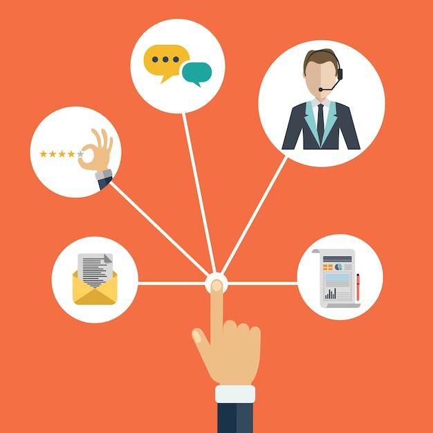 Gestão de relacionamento com cliente apresentando mão Vetor grátis