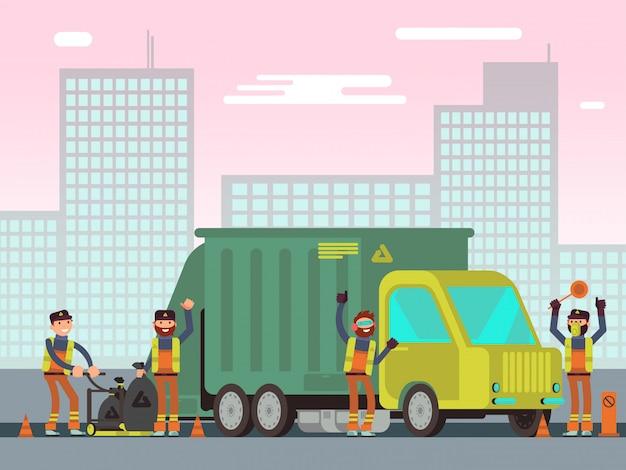 Gestão de resíduos e coleta de lixo da cidade para reciclagem conceito de vetores com trabalhadores de limpeza Vetor Premium