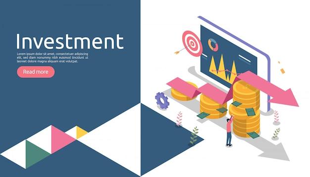 Gestão ou retorno sobre o conceito de investimento. negócio on-line estratégico para análise financeira. Vetor Premium