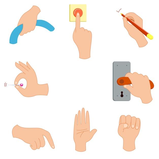 Gesto com a mão, mantenha a imprensa botão ilustração vetorial Vetor Premium