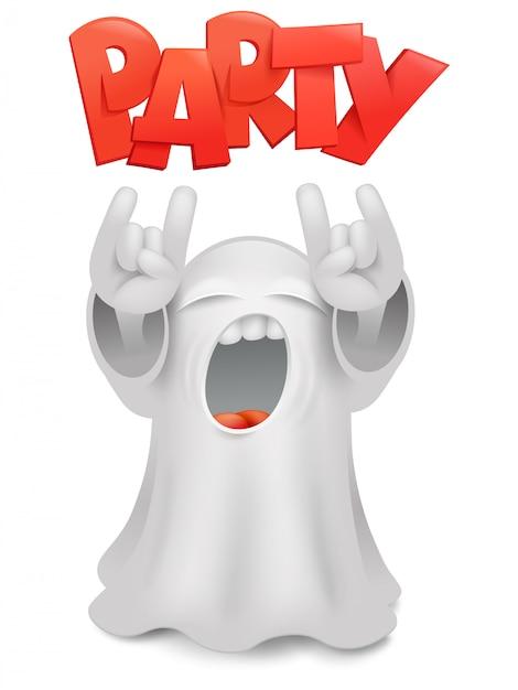 Gesto fantasma bonito dos chifres do caráter do fantasma do emoticon. Vetor Premium