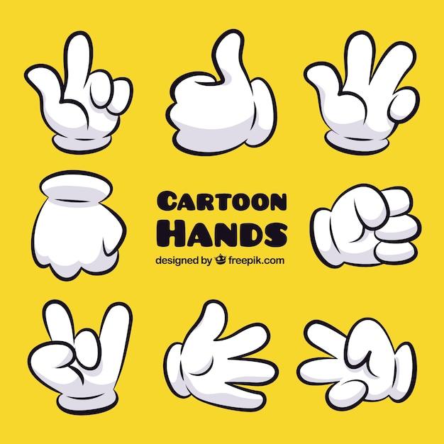 Gestos da mão dos desenhos animados Vetor Premium