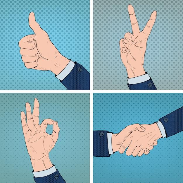 Gestos de mão definido no estilo de arte pop em quadrinhos Vetor Premium