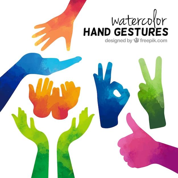 Gestos watercolor Vetor Premium