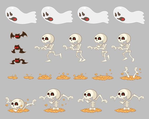 Ghost enemies game sprites Vetor Premium