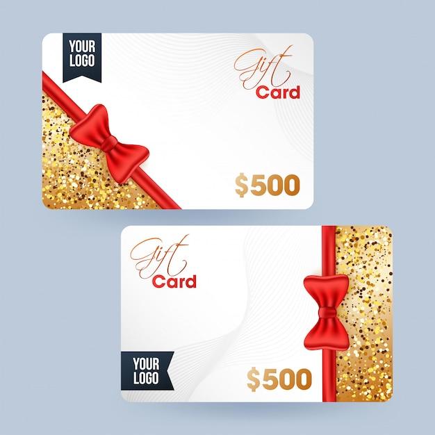 Gift card, voucher ou cupom definido com melhor oferta de desconto. Vetor Premium