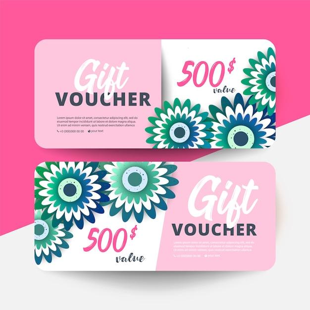 Gift voucher card set modelo com flores Vetor Premium