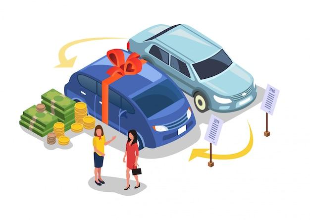 Gifting ou compra do carro, pagando o dinheiro pelo veículo. Vetor Premium