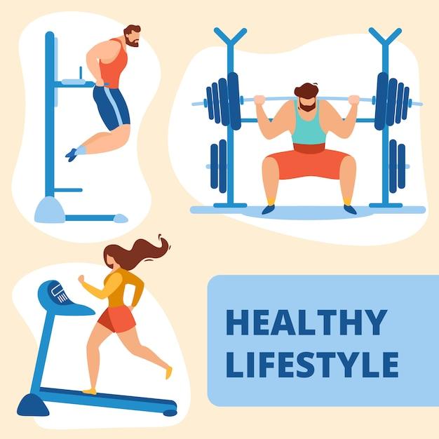 Ginásio de treinamento esportista e desportista Vetor Premium