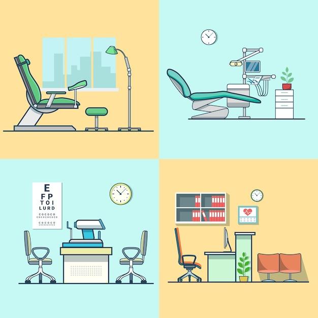 Ginecologia ginecologia dentista oculista olho médico escritório hospital medicina mulher sala de saúde interior conjunto interno. Vetor grátis