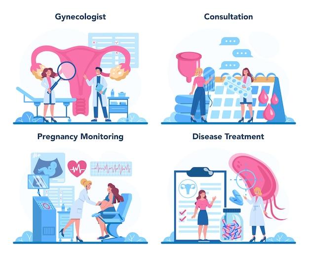 Ginecologista, reprodutologista e conceito de saúde feminina. Vetor Premium