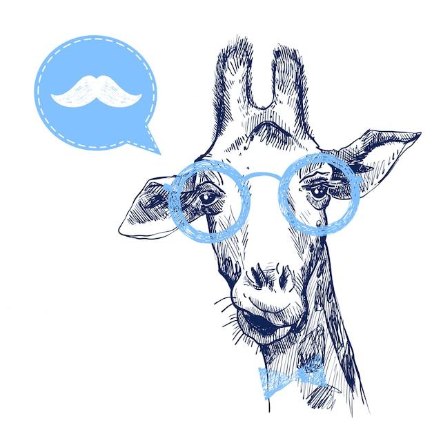 Girafa bonita hipster com bigode Vetor Premium