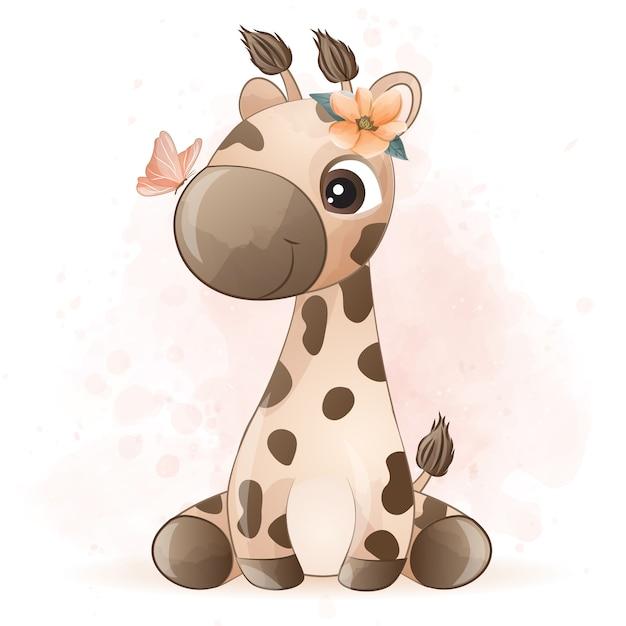 Girafa bonitinha com efeito aquarela Vetor Premium