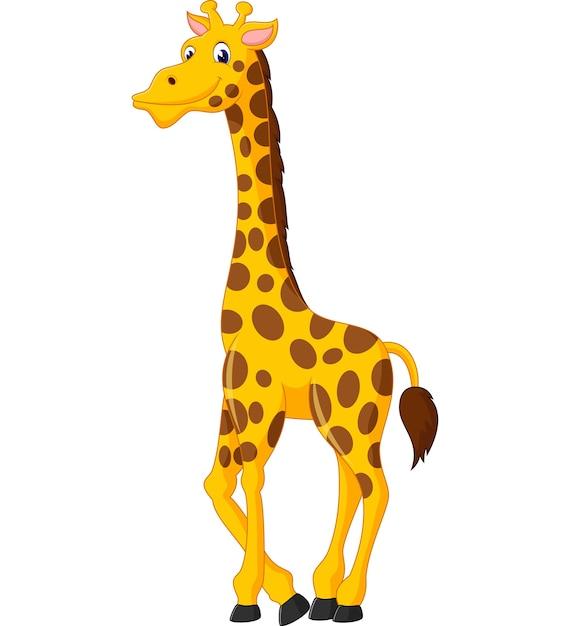Girafa Bonito Dos Desenhos Animados Vetor Premium